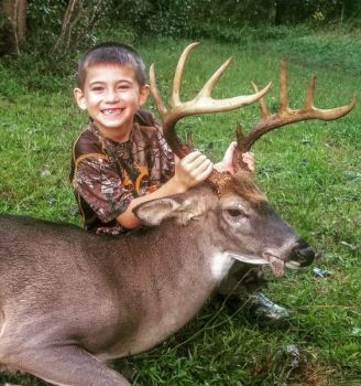 Six-year-old Carter Phillips of Chatham County killed this 10-point buck on Sept. 18. It was his second buck of the 2018 season.