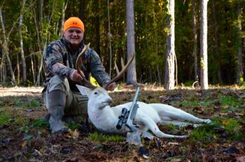 Alec Robertson of Reidsville, N.C., killed this albino buck on the opening day of blackpowder season in Rockingham County, Oct. 27, 2018.