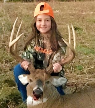 Laurel League, 9-year-old, was hunting with her granddad on Nov. 10 when she killed this 140-class buck.